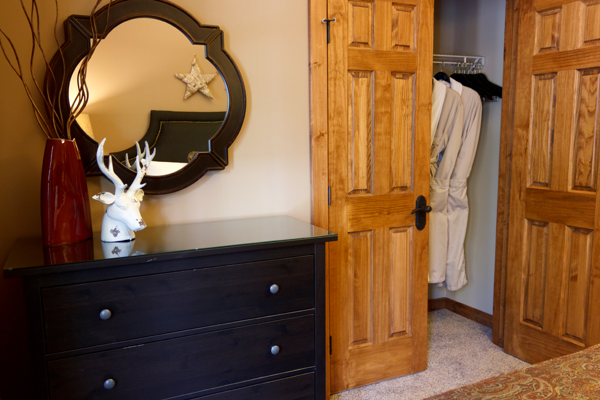 Brichside Double Closet with Bath Robes | The Prairie Creek Inn