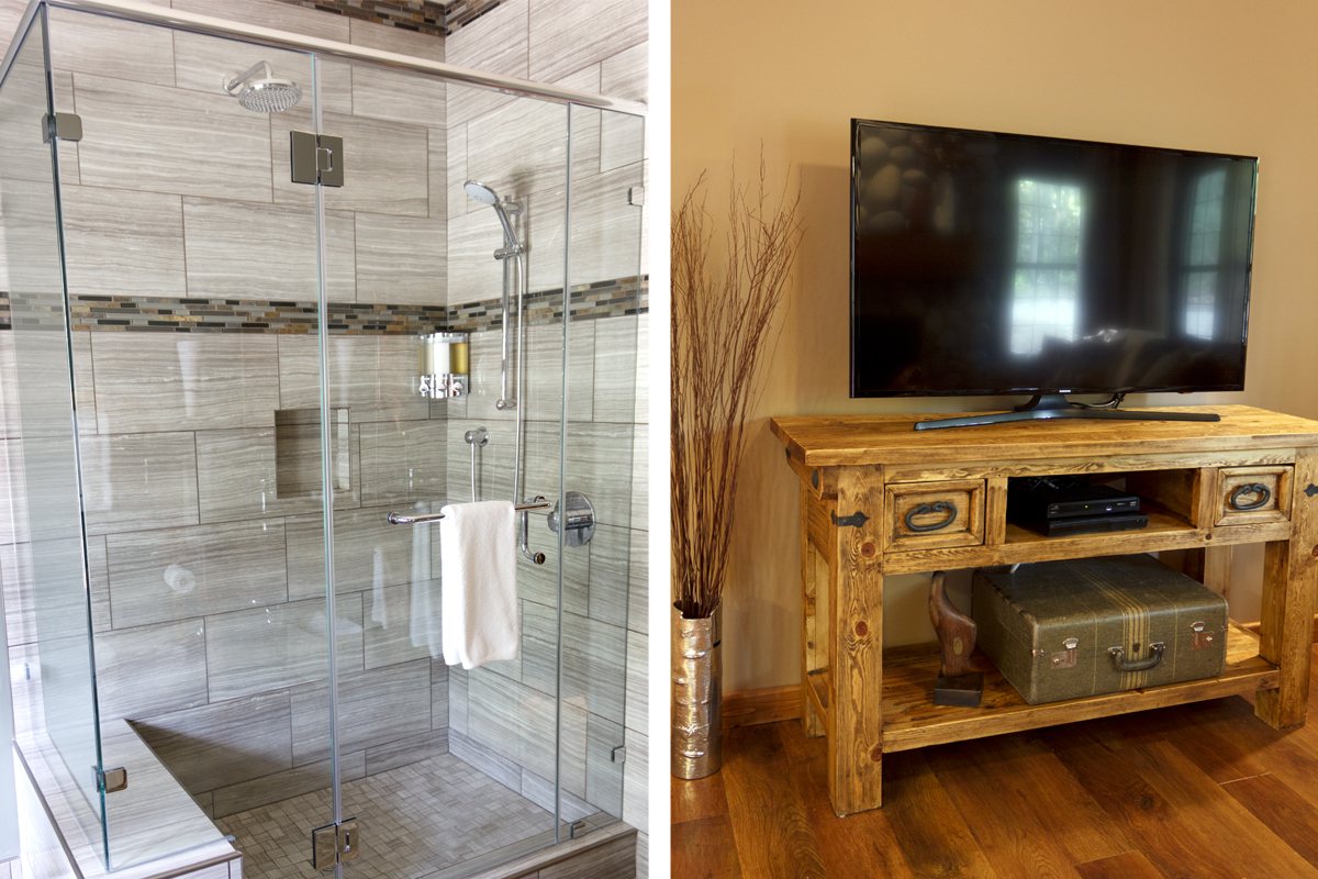 Birch side Glass Shower & 40