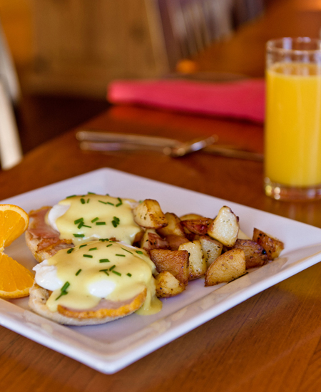 Bed and Breakfast Eggs Beni Served in the Heartstone Restaurant ~ The Prairie Creek Inn