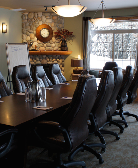 Deerview Meeting Room ~ Corporate Retreats board room with gas fireplace & large windows