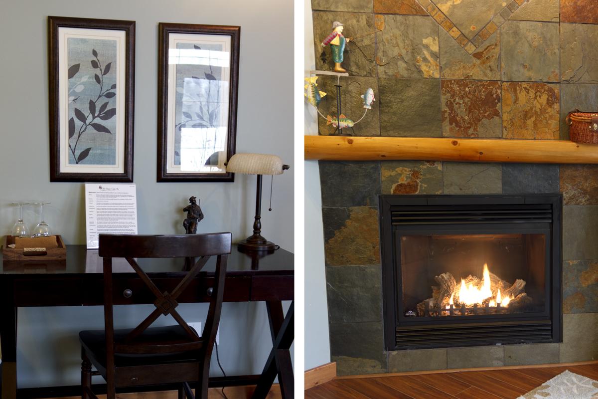 Brown Trout Fireplace Desk | The Prairie Creek Inn